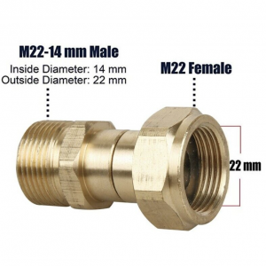 Swivel Joint Male M22/14mm to Female M22 for Pressure Washer Gun
